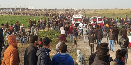 ca23ce730 On the 45th Friday of the Great March of Return and Breaking the Siege,  Israeli forces wound 98 civilians, including 15 children, 4 women; ...